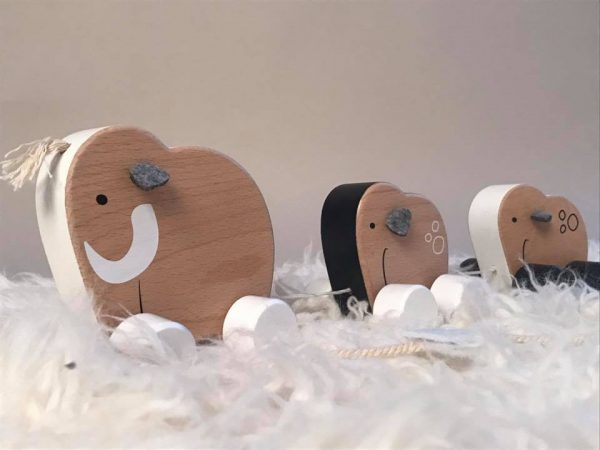 Kids Concept Scandi Wooden Elephant Pull Along Toy