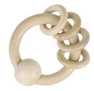 Heimess Natural Wood Wooden Baby Rattle Touch Ring with 4 Rings