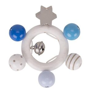Heimess Elasticated Blue Grey Star Wooden Touch Ring Baby Toy