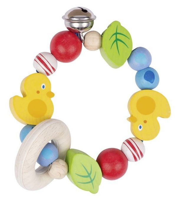 Heimess Elasticated Duck Wooden Touch Ring Baby Toy