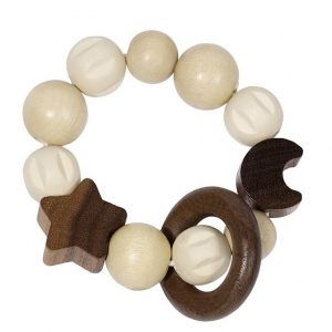 Heimess Elasticated Moon and Star Wooden Touch Ring Toy