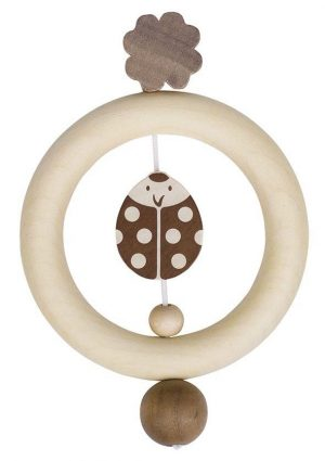 Heimess Natural Wood Ladybird Touch Ring Wooden Baby Toy