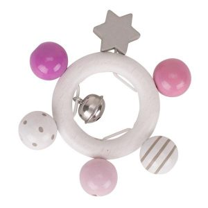 Heimess Elasticated Pink Grey Star Wooden Touch Ring Baby Toy