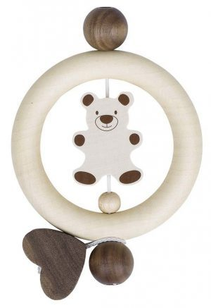 Heimess Natural Wood Teddy Bear Touch Ring Rattle Wooden Baby Toy