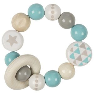 Heimess Elasticated Turquoise Star Wooden Touch Ring wooden Baby Toy