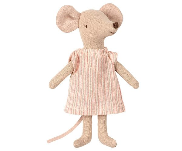 Maileg Big Sister Mouse In Matchbox - Pink Thin Striped Dress