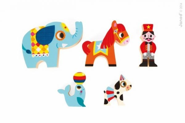 Janod Stacking Blocks Wooden Circus Figures