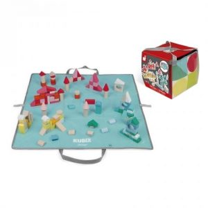 Janod Kubix 120 Wooden Blocks and Fold Up Play Mat