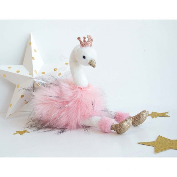 Histoire d'Ours Cygne Rose Pink Plush Swan 30cm