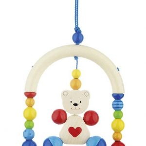 Heimess Pram Toy Wooden Mini Trapeze Heart Teddy Bear