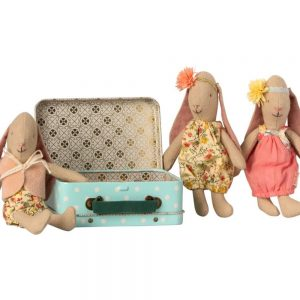 Maileg Micro Baby Girl Bunny in Suitcase with 2 sets of Clothes
