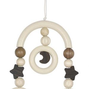 Heimess Pram Toy Wooden Mini Trapeze Moon and Stars Wooden Baby Pram Toy