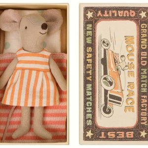 Maileg Big Sister Mouse In Matchbox - Stripy Orange Dress
