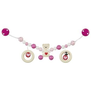 Heimess Pram Toy Wooden Pink Teddy Bear Chain