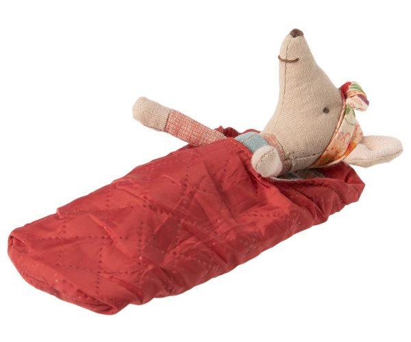 maileg Hiker Girl Happy Camper in red Sleeping Bag