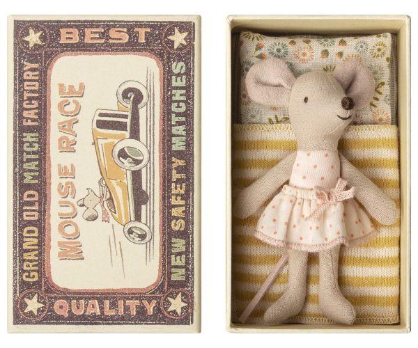 Maileg Little Sister Mouse In Matchbox - Pink Polka Dot Dress