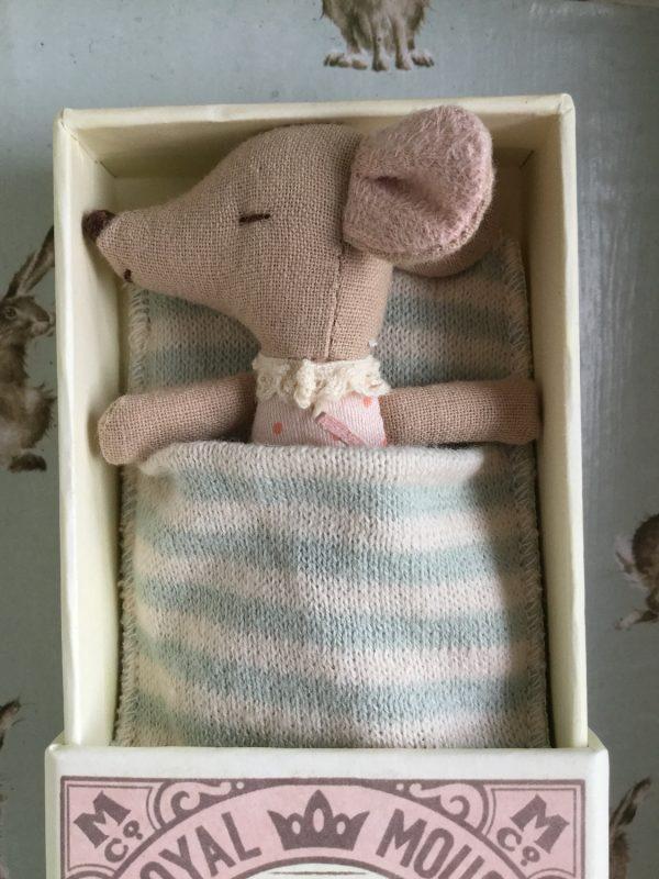 Maileg Sleepy Wakey Baby Girl Matchbox Mouse