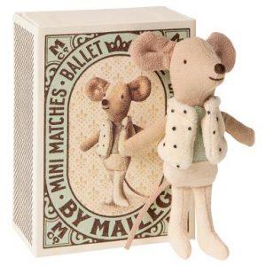 Maileg Little Brother Dancer Mouse Ballerina Boy in Matchbox