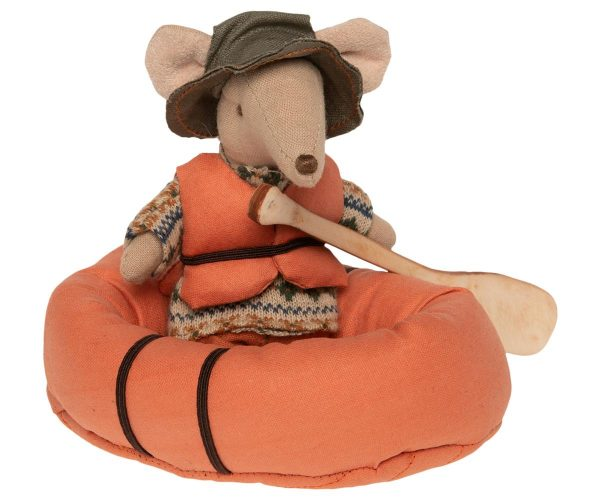 Maileg Mouse with Maileg Orange Rubber Boat