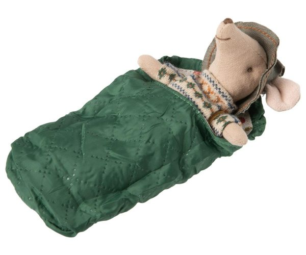 Maileg Big Brother Mouse with his green sleeping bag
