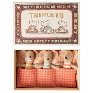 Maileg Triplet Matchbox Mice Three Baby Mouse
